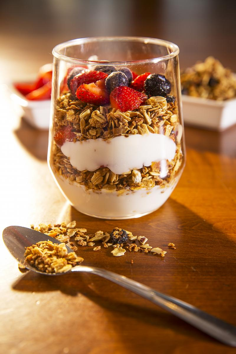 Yogurt parfait with granola in a clear glass
