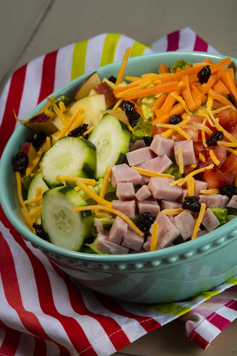 colorful salad over cloth