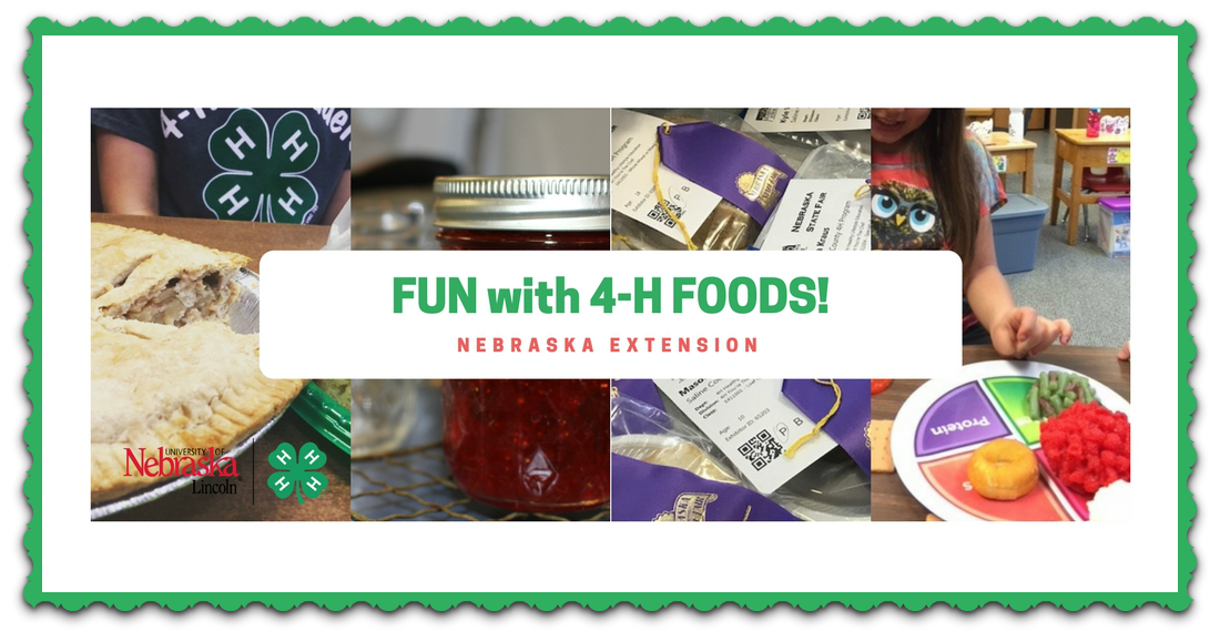 "children working with 4-H cooking projects and a ""fun with 4-H Foods"" label"
