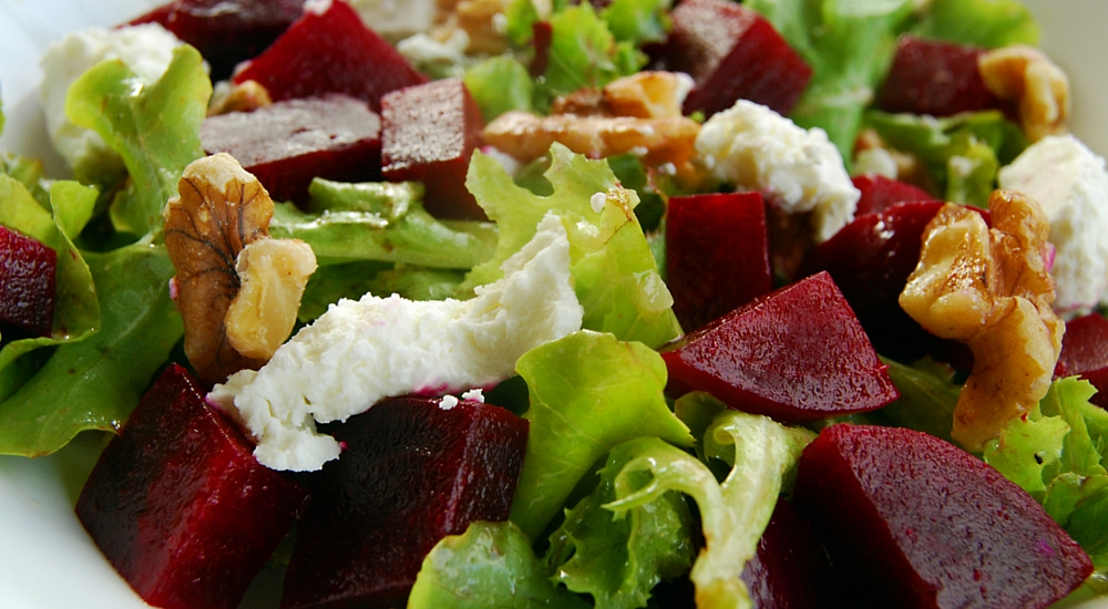 Beet Goat Cheese and Walnut Salad