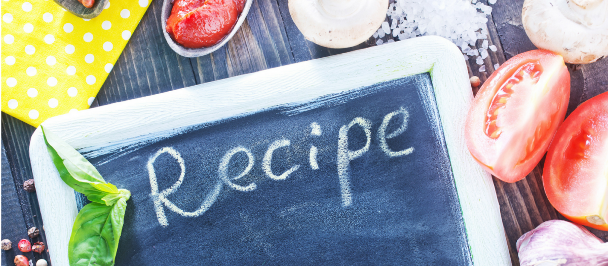 chalkboard, word recipe, and vegetables
