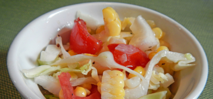 Cabbage, tomato and corn salad