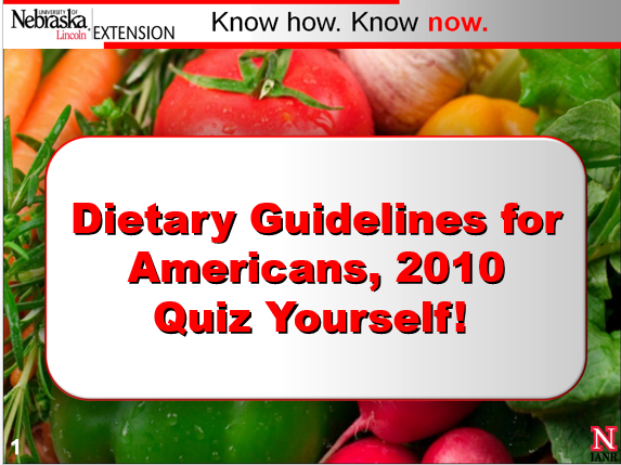 Dietary Guidelines for Americans 2010 PowerPoint
