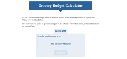Screen shot of Grocery Budget Calculator Web page