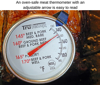 oven-safe thermometer with adjustable arros
