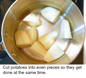 cooking potatoes by starting them in a pan of cold water