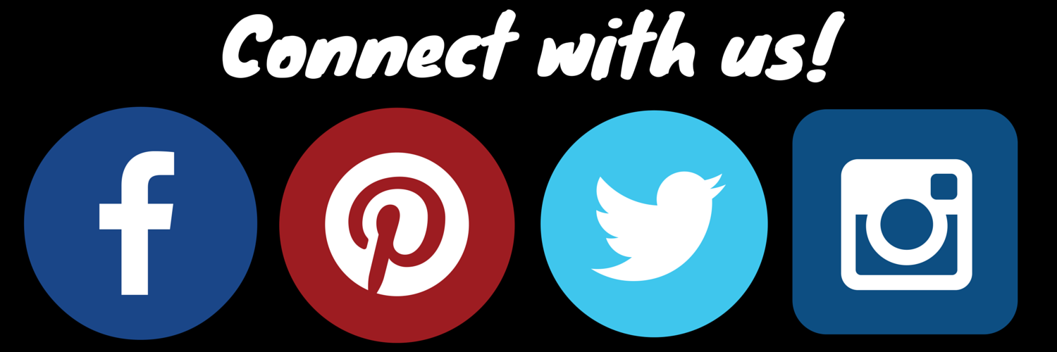 "facebook, pinterest, twitter and instagram icons on black background with ""connect with us"" words at top"