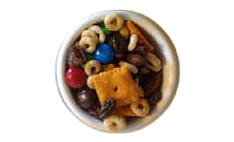 Contrast Snack Mix Recipe pairs foods that are salty and sweet, smooth and crunchy, dark and light colored
