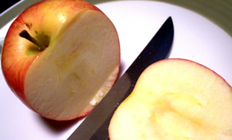 apple cut with a knife