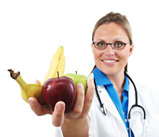 dietitian holding a handful of fruit