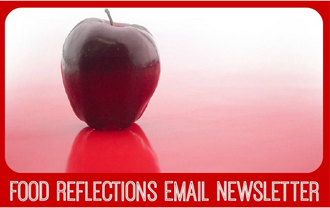 apple with words Food Reflections Email Newsletter on it