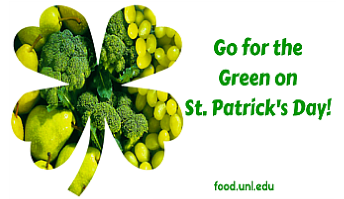 st. Patrick clover with green fruit and vegetables