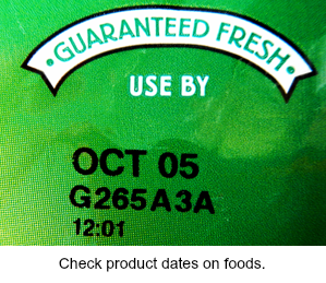 Use by date on a food