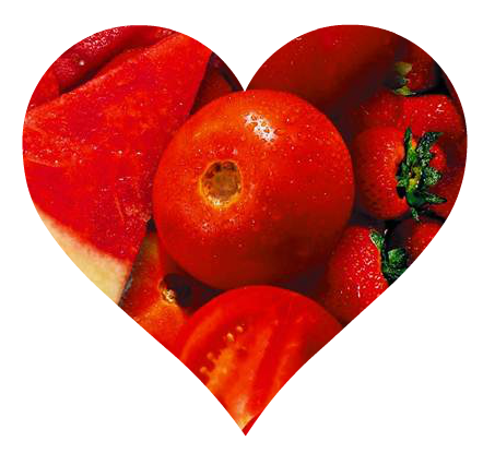 red heart made of fruit
