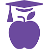 apple with graduation hat icon