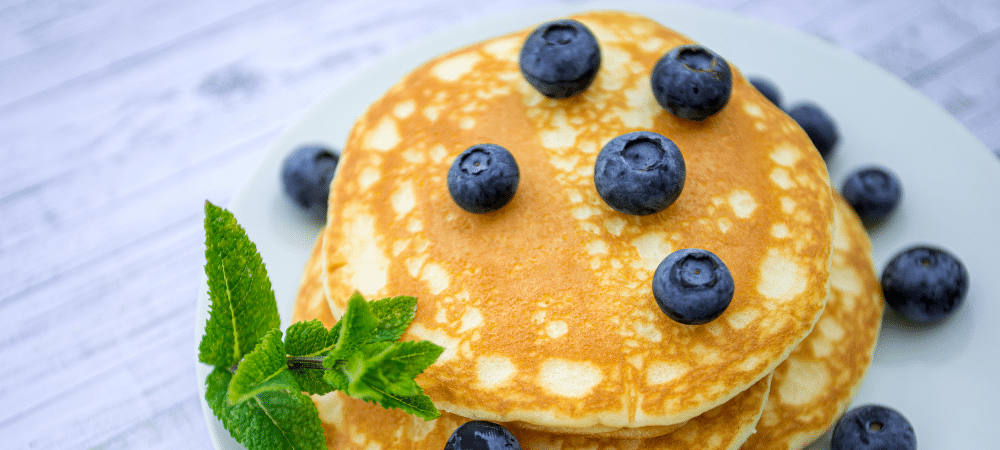 pancakes with blueberries on top
