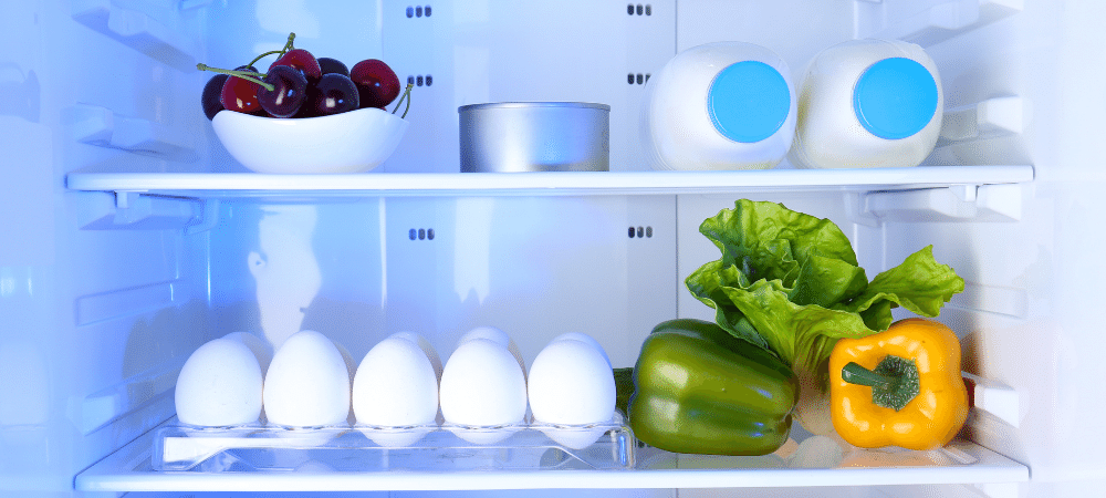 refrigerator open with milk, eggs, fruit, and vegetables