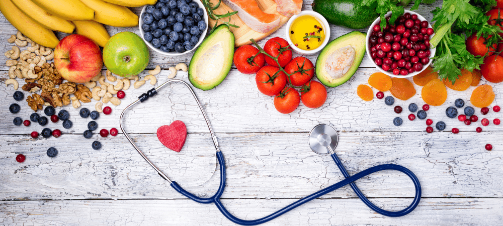 heart healthy foods for the heart such as fruits, vegetables, nuts, and fish