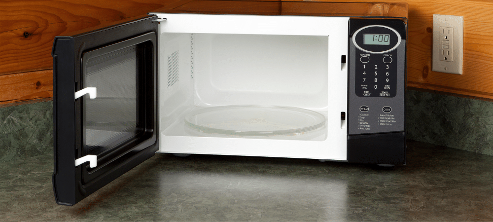 open microwave on counter