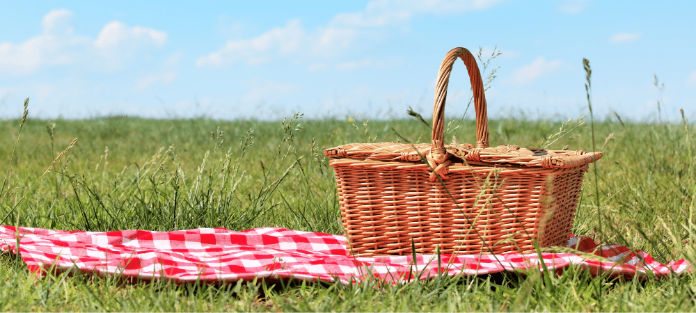 picnic basket on a blanked on green grass with a blue sky