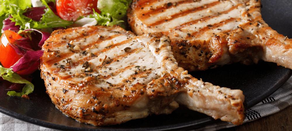 pork steaks with salad