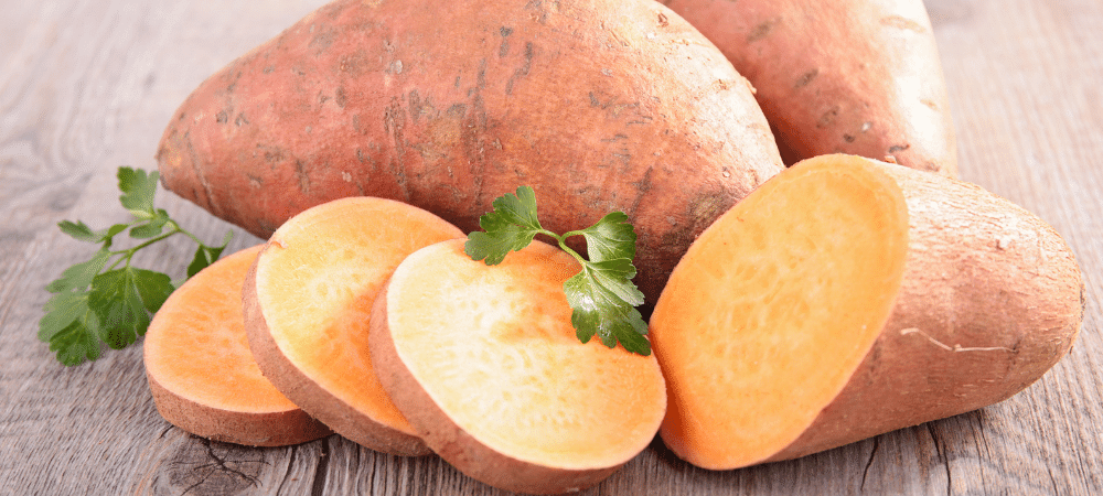 sweet potatoes on a table