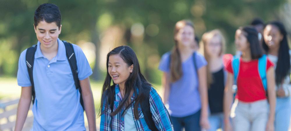 group of kids walking to school
