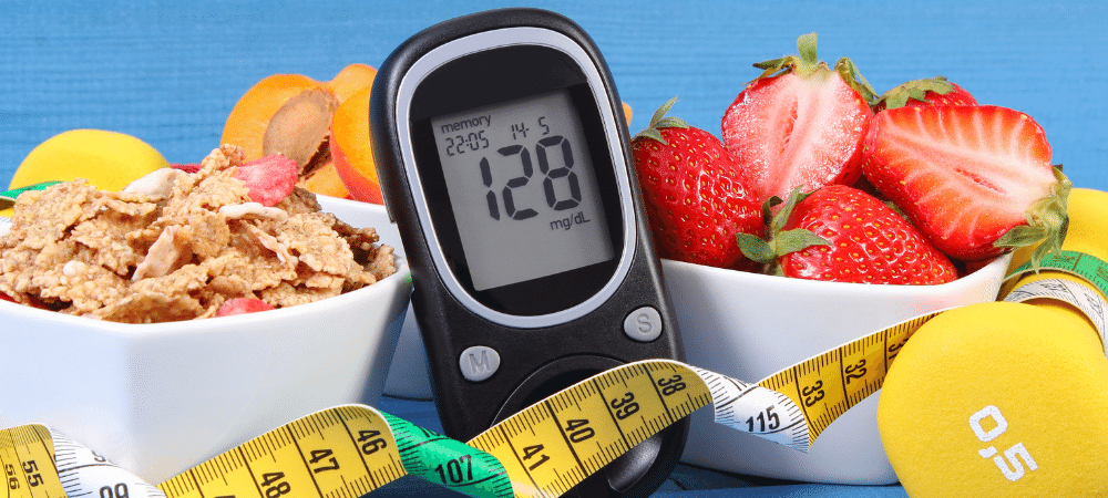 diabetes supplies such as glucose meter, healthy food, dumbbell, and measuring tape
