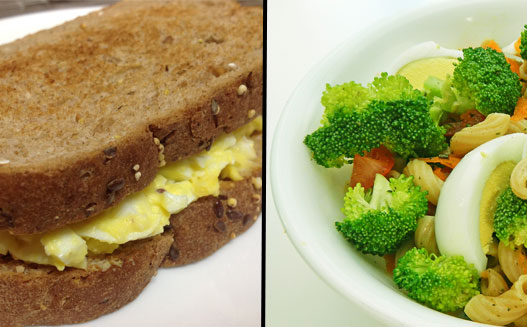 egg sandwich and salad with eggs