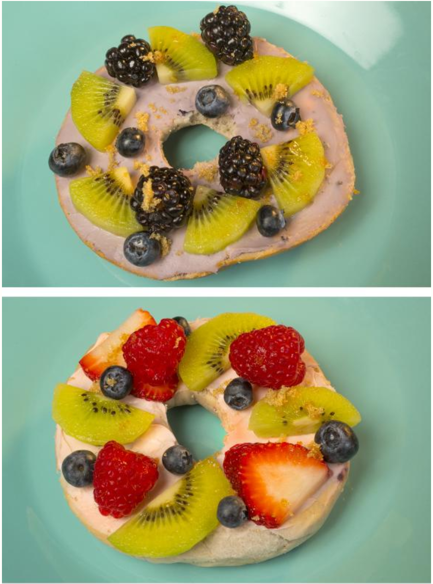 Bagels with cream cheese topped with fresh fruit