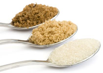 3 teaspoons of different types of sugar