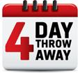 4 Day Throw Away red graphic