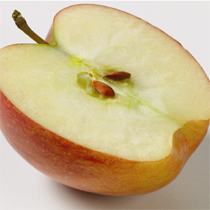 one-half cut apple