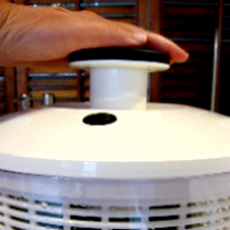 white plastic salad spinner