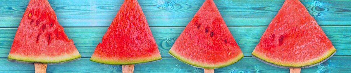 Row of sliced watermelon
