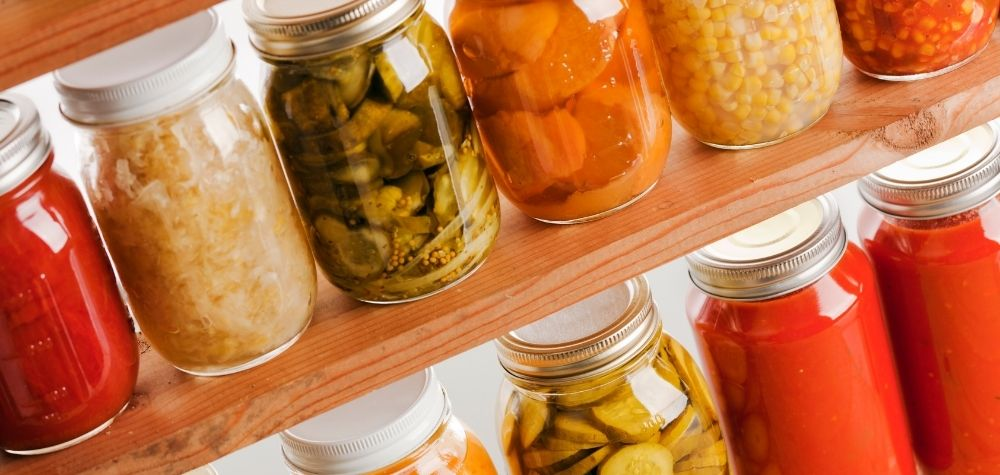 canning jars on a shelf