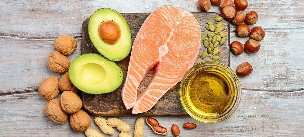 nuts, avocado, salmon, oil