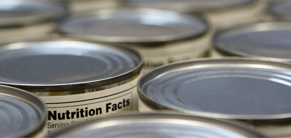 cans of food with nutrition labels