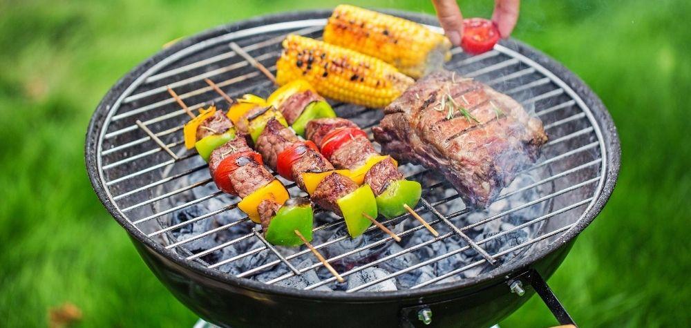 grilled kabobs, corn, steak