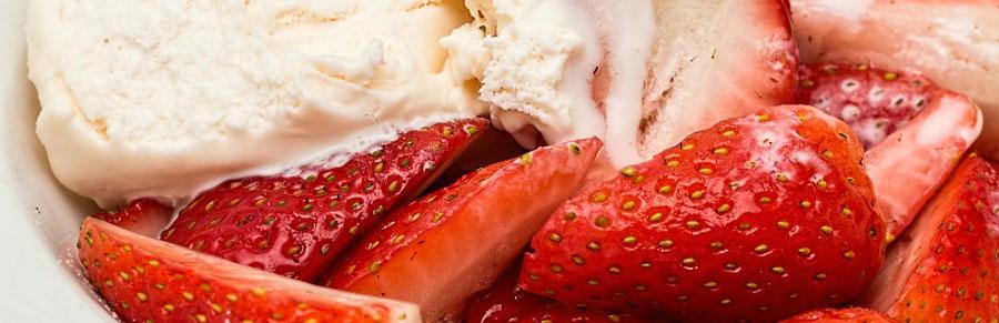 ice cream and strawberries