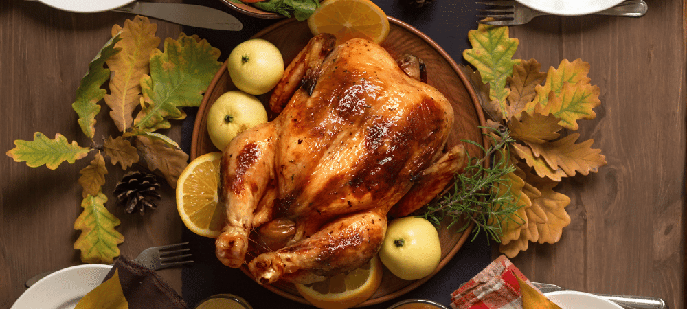 Thanksgiving dinner with roasted turkey