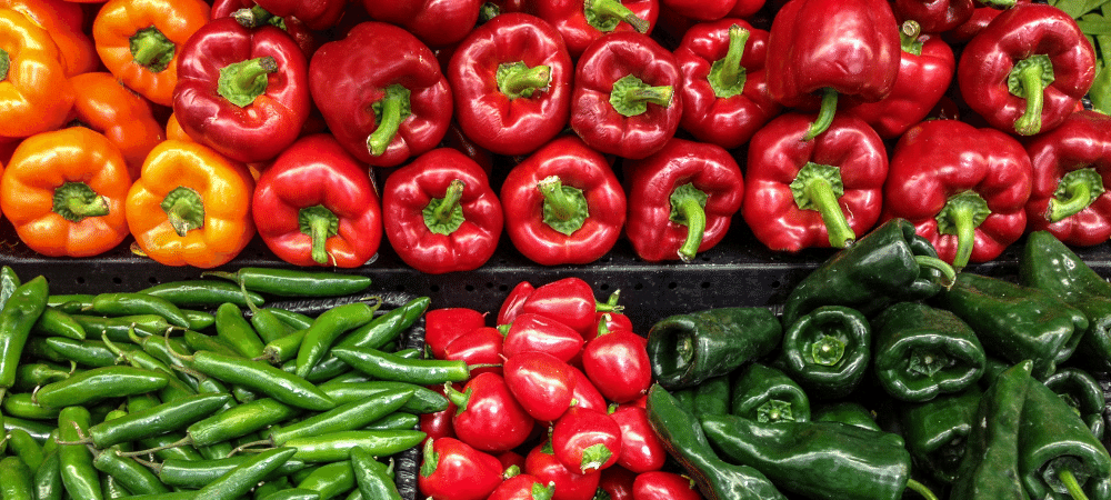 variety of sweet and hot peppers