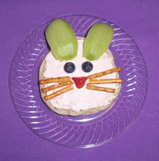 English muffin with a bunny face