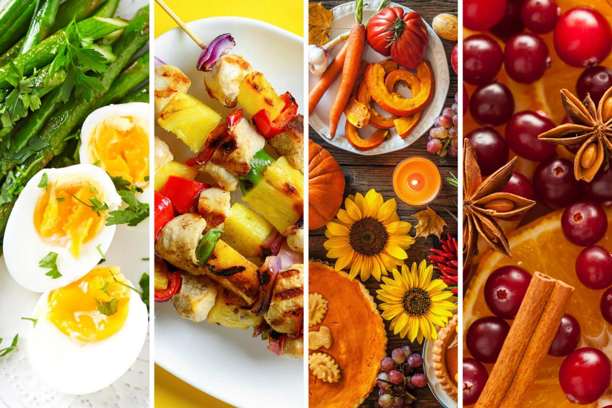 Photo collage of seasonal foods