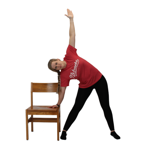 chair yoga triangle pose