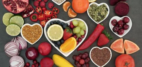 heart dish with healthy food