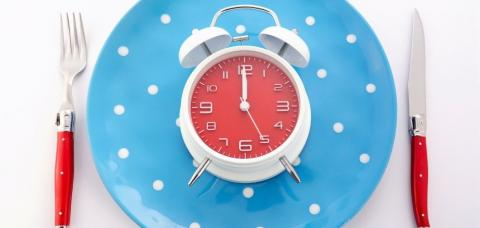 place setting with clock