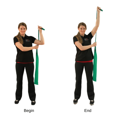 using a resistance band for the single arm shoulder press exercise