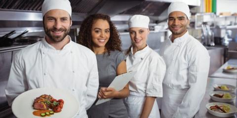 restaurant manager with kitchen staff