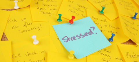 sticky notes with a lot of to-do items that is causing stress